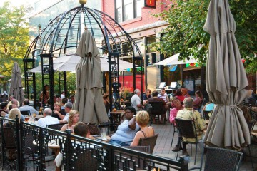 Patrons dine on the patio outside Cowboy Monkey on Sept. 2, 2011.