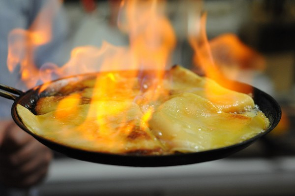 Flaming Crêpe Suzette. Photo by crepeguys.com.