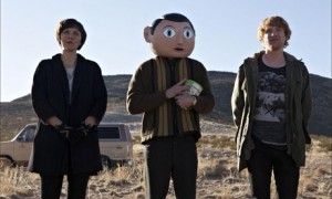 Maggie Gyllenhaal, Michael Fassbender and Domhnall Gleeson in Frank. Used with permission from Magnolia Pictures.