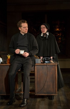 Steve Haggard as Father Flynn and Janes Woditsch as Sister Aloyius. Photo by Michael Brosilow.